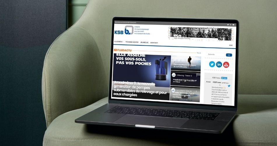 écran d'accueil du blog